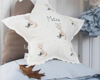 Personalized Star decorative pillow, Decorative Nursery Pillow, baby pillow, Fox nursery pillow, kids pillow, crib pillow