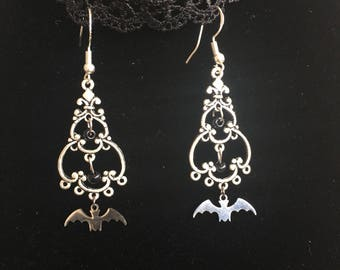 gothic filigree earrings with bat and black pearls, hangers 925er Sterling silver