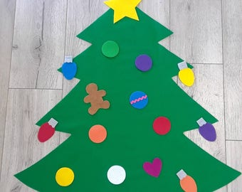 felt christmas tree sewn and hand cut no glue perfect for toddlers and preschoolers