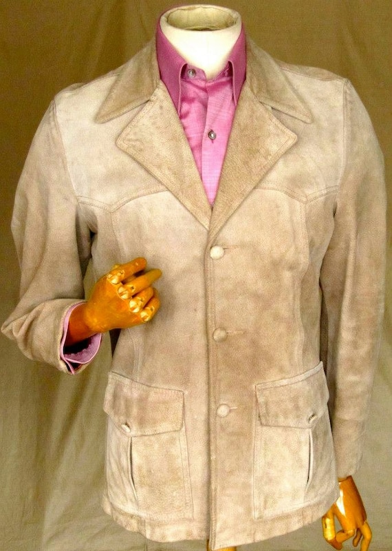 Suede Dandy sports jacket with covered buttons siz