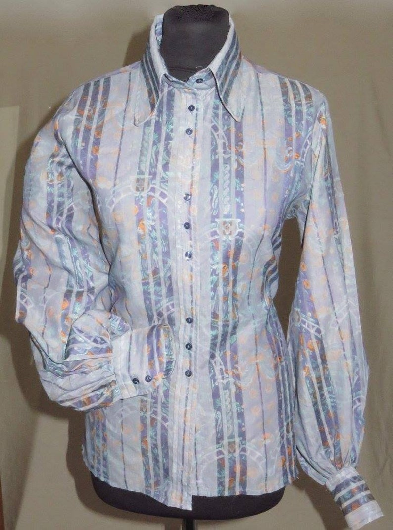 Original late 60/'s-70/'s Ben Sherman ladies shirt in Psychedelic shades size 16 stated