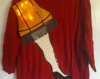 ugly christmas sweater party a christmas story leg lamp lights up women xl 1x
