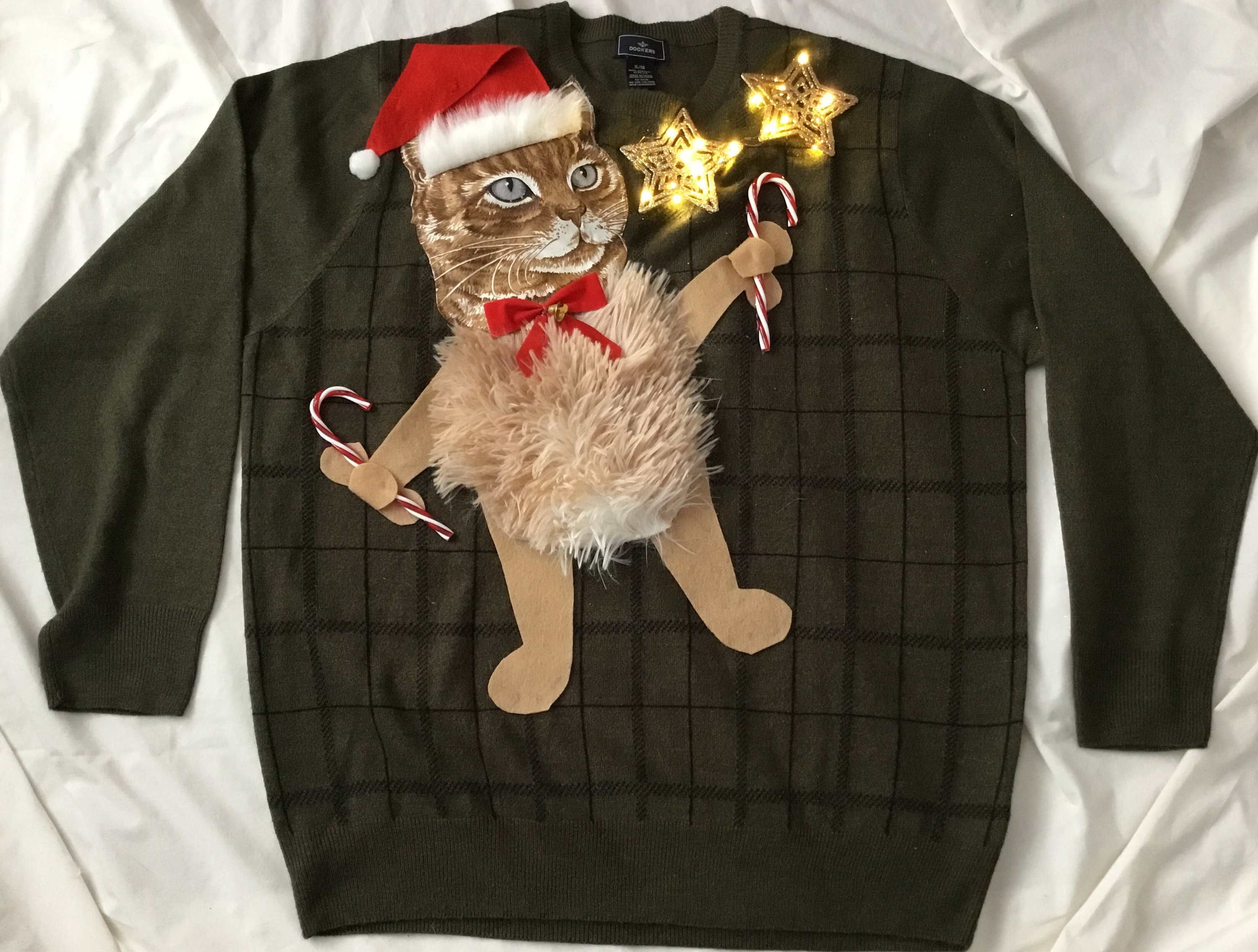 UGLY CHRISTMAS Sweater Kitty Cat With Lights One of A Kind   Etsy