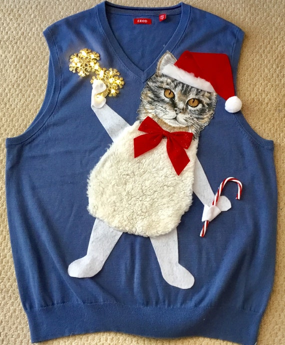 UGLY CHRISTMAS Sweater Vest, Kitty Cat With Lights! Vest, One of A Kind Winner! Men XL