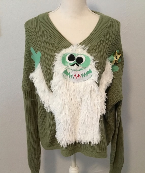 UGLY CHRISTMAS Sweater, Abominable Snowman from Rudolph, Yeti, Lights Up! One of a Kind Winner! Women 2X