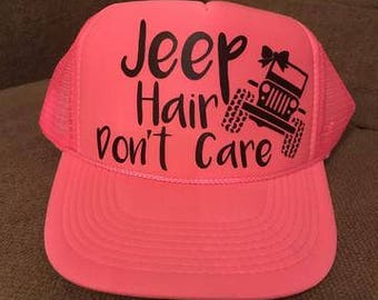 """Hot Pink """"Jeep Hair Don't Care"""" Trucker Hat"""