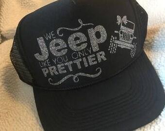940f659fec5 We Jeep Like You Only Prettier Glitter Snapback