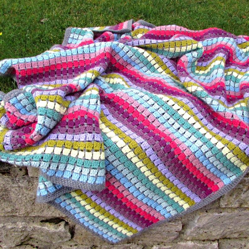 Vintage Rainbow Crochet Blanket Kit Rainbow Yarn Crochet Etsy