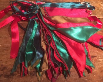 Christmas bunting handmade in satin