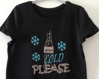 Girl T-shirt, size 146/152, black t-shirt with text in gold and blue