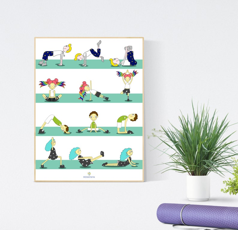 Kids Yoga Poster - Instant Download - Kids Yoga Poses - Mint