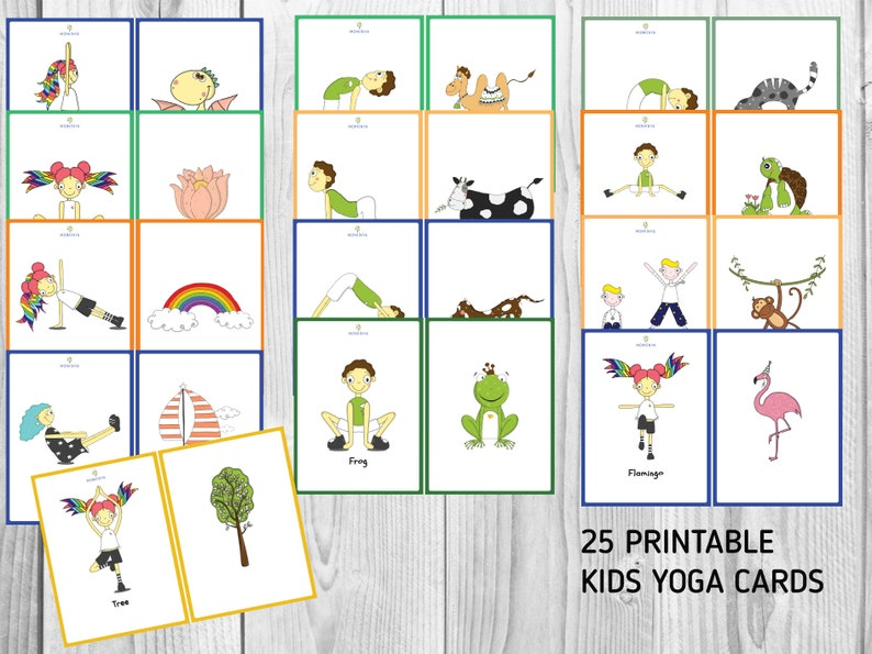 graphic regarding Yoga Poses for Kids Printable identified as Printable Children Yoga Playing cards