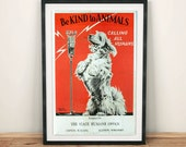 Be Kind to Animals Calling All Humans Vintage Animal Rights Welfare Humane Society Poster