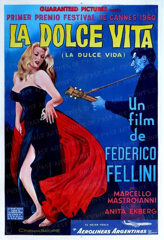 "Decor movie Poster for/""La DULCE Vida/""Sweet Life.Italian film by Fellini.Room art"