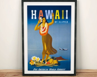 Hawaii Dancing Woman with Lei Necklace Vintage Travel Poster