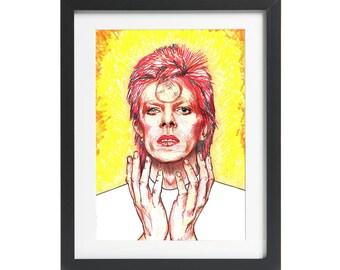 David Bowie Ziggy Stardust Portrait Unique Hand Drawn A4 Unframed Picture Illustration Wall Art