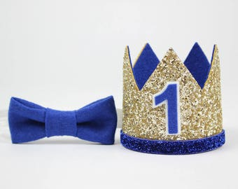 First Birthday Outfit Boy Crown   Baby Boy Birthday Party Hat   First Birthday Glitter Crown   1st Birthday Hat   Gold + Royal Blue 1
