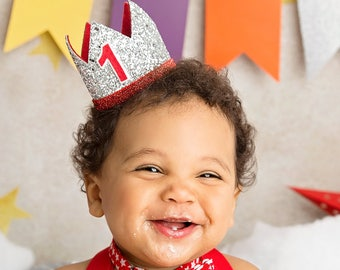 First Birthday Outfit Boy Crown   Baby Boy Birthday Party Hat   First Birthday Glitter Crown   1st Birthday Hat   Silver + Red 1