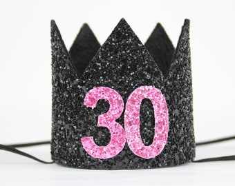 Pink//Black Flirty Polka Dots Happy Birthday Over The Hill Party Balloon