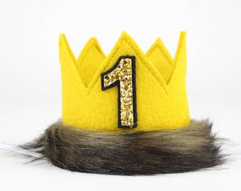 Where the Wild Things Are Crown | Felt Crown | Max Birthday Hat | Wild One | Max Crown | Newborn Baby Photo Prop Gift | Mustard with Fur