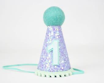 Mermaid Birthday Party Hat of Glitter   Mermaid Birthday Hat   First Second Birthday   Photo Prop Decor   Birthday Hat   Lilac + Mint + Teal