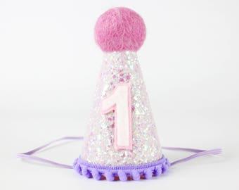 First Birthday Glitter Hat   Unicorn Birthday Party Hat   1st Birthday Hat   Purple + Pink + White