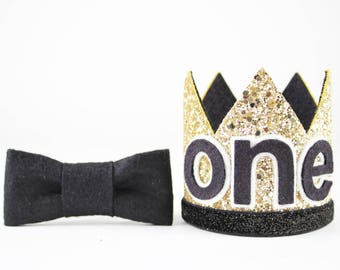 Boy Birthday Crown   First Birthday Outfit Boy Crown   First Birthday Glitter Crown   1st Birthday Hat   Gold + Black ONE