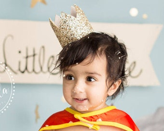 Birthday Party Crown   Boy Birthday Gold Glitter Hat   First Birthday Photo Prop   Pale Gold