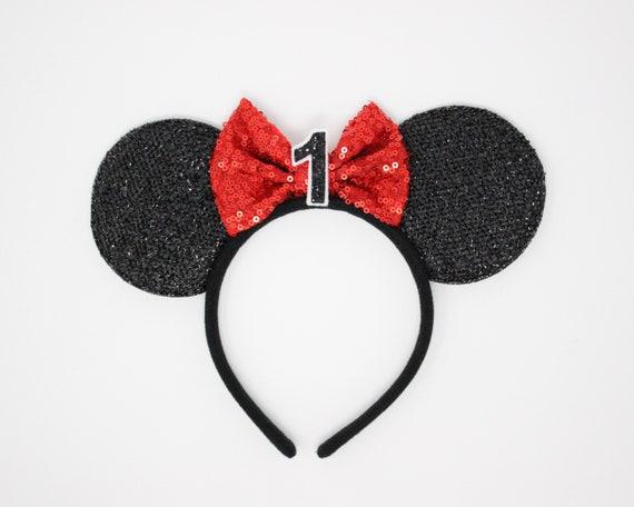 1 Geburtstag Disney Ohr Minnie Mouse Ohr Stirnband Ersten Geburtstag Ohren 1 Geburtstag Minnie Maus Party Mickey Ohren Disney Ohren