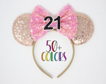 21st Birthday Rose Gold Mouse Ears   Rose Gold Mouse Headband   Rose Gold Mouse Ears   Rose Gold Mouse Ears   Choose Bow Color