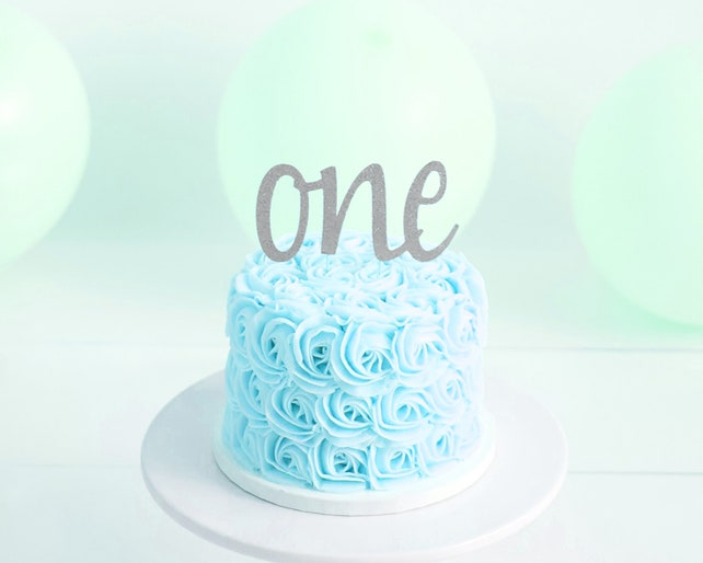 Cake Topper First Birthday Script One Glitter Cake Smash Etsy