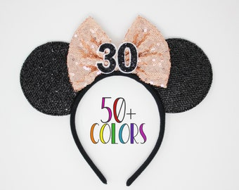 30th Birthday Mouse Ear Headband   Rose Gold Mouse Ears   30th Birthday Mouse Ears   Rose Gold Mouse Ears   Choose Age + Bow Color
