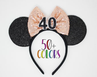 40th Birthday Mouse Headband   Rose Gold Mouse Ears   40th Birthday Mouse Ears   Rose Gold Bow Ears   Choose Age + Bow Color