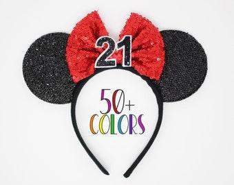 21st Birthday Mouse Headband   Mouse Birthday Ears   21st Birthday Mouse Ears    Birthday Ear Headband   Choose Age + Bow Color