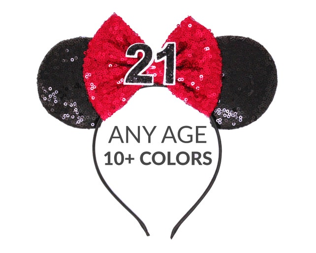 21st Birthay Minnie Mouse Ears Headband Red Glitter Bow