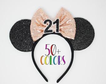 21st Birthday Ear Headband | Rose Gold Mouse Ears | 21st Birthday Mouse Ears | Rose Gold Mouse Ears | Choose Age + Bow Color