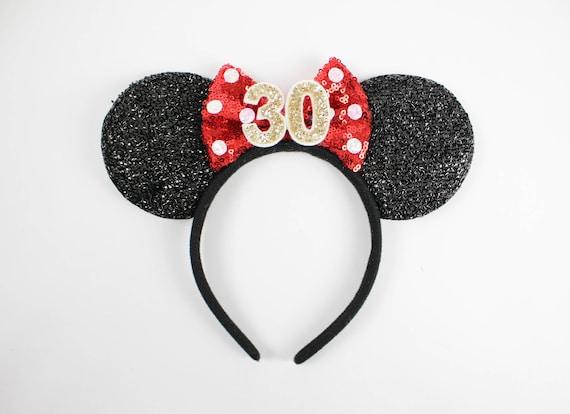Minnie Mouse Ohren 30 Geburtstag Mit Roten Tupfen Glitter Etsy