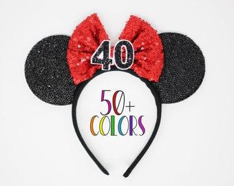 40th Birthday Mouse Headband   Birthday Ears   40th Birthday Mouse Ears   40th Birthday Ears   Choose Age + Bow Color