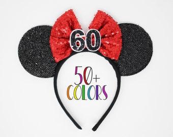 60th Birthday Mouse Headband   60th Birthday Ears   60th Birthday Mouse Ears   Birthday Ears   Choose Age + Bow Color