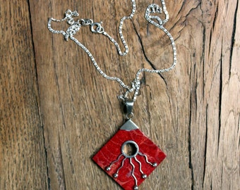 Silver (925) necklace with silver (925) pendant blood coral * FREE SHIPPING *