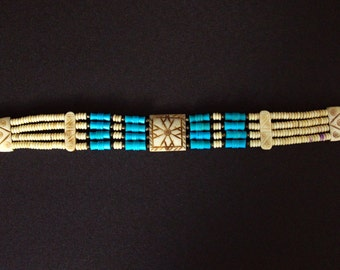 Choker creme with blue-turquoise * FREE SHIPPING *