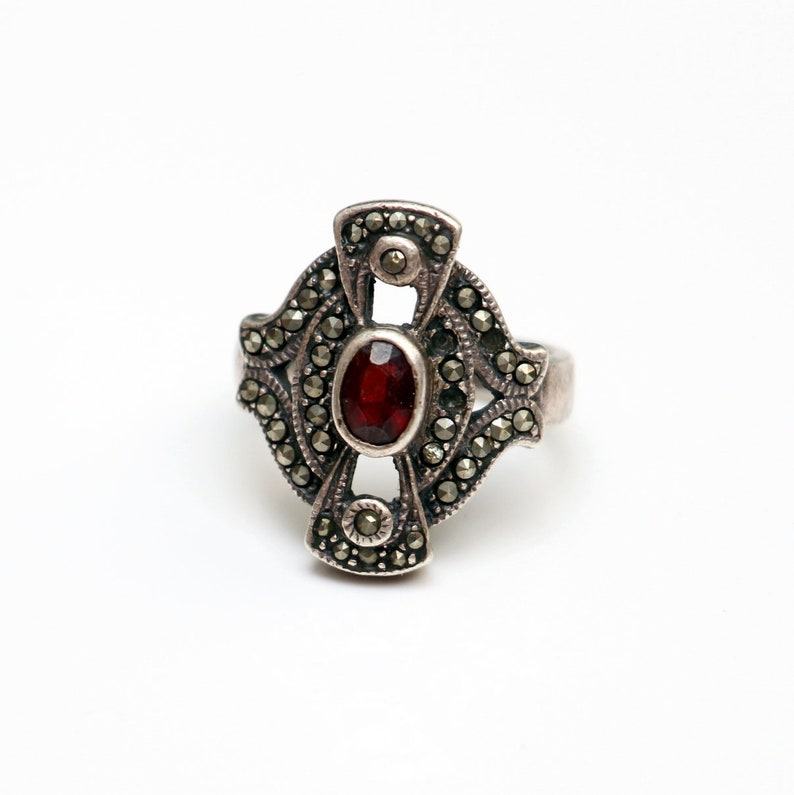 Art Deco Silver Sterling 925 Victorian Ring-facet cut ruby-Marquisette