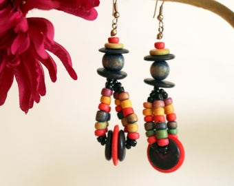 Earrings with wooden beads * Free Shipping *