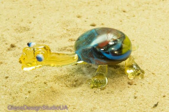 "New 8/"" Hand Blown Art Glass Turtle Sculpture Figurine Statue Blue Decorative"