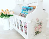 Shabby chic magazine rack, magazine storage, books storage, portable storage unit, shabby chic home decoration, floral design, vintage decor