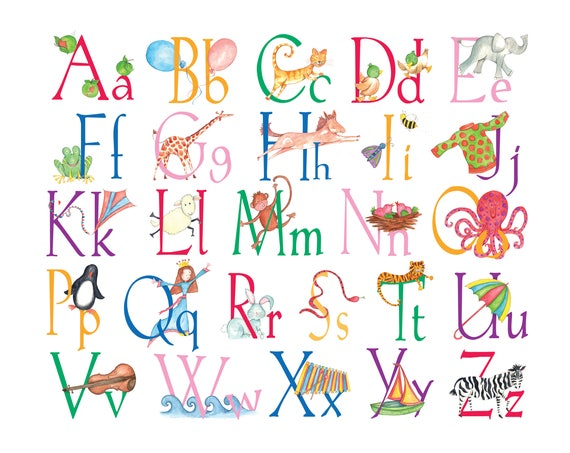 Illustrated Alphabet A3 print