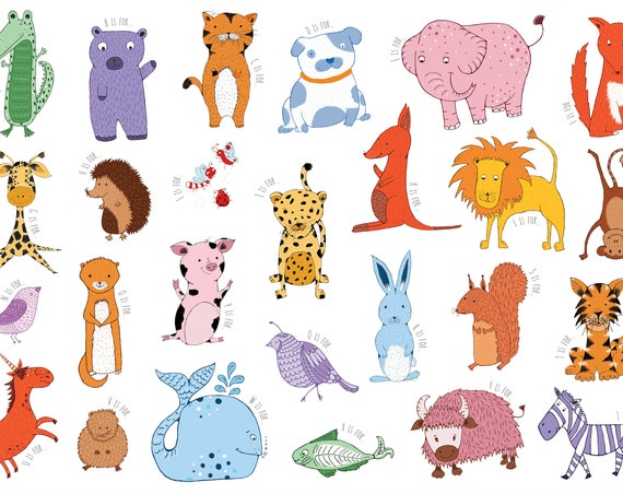 Animal Alphabet Illustration A3 print