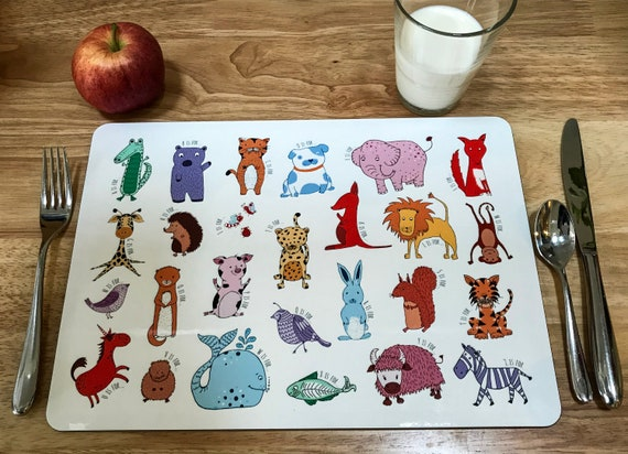 Child's A-Z animals placemat. Child's gift. Fun mealtimes.