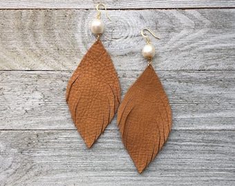Camel Feathers with Fresh Water Pearl Accents