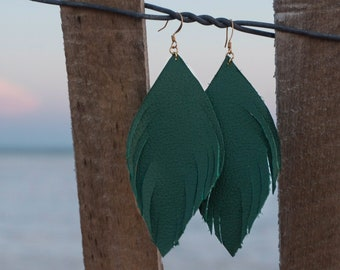 Emerald Leather Feathers